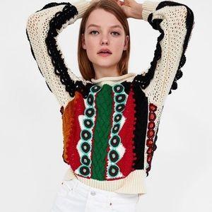 Zara Studio Multicolor Crochet Cable Knit Sweater
